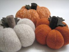 Fall Pumpkins Set of Three Handmade from Felted Wool by mmwolters, $39.00
