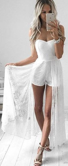 #summer #feminine #outfits | Off The Shoulder Sexy and Bridal Princess Romper