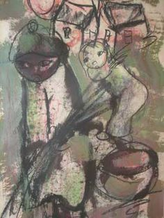 Frans Claerhout (SA 1919 - 2006) Mixed Media, African Figure, Signed, 58 x 42 - Auctioneers - 5th Avenue Auctioneers