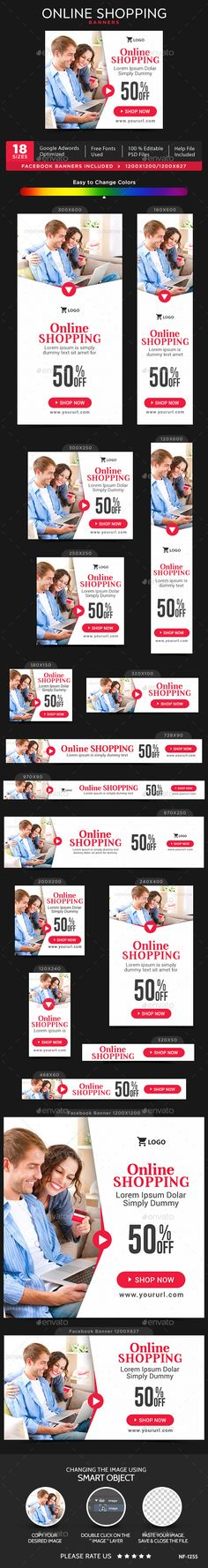 Online Shopping Banners — Photoshop PSD #animated banner #banners • Available here → https://graphicriver.net/item/online-shopping-banners/15929915?ref=pxcr