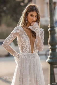 Amazing Embroidered Backless A-Lane Wedding Dress / Bridal Gown with Deep V-Neck Cut, Long Sleeves and Open Back. Fall Winter 2019 Bridal Couture Collection by Berta V Neck Wedding Dress, Long Sleeve Wedding, Fall Wedding Dresses, Wedding Gowns, Floral Wedding, Summer Wedding, Sleeved Wedding Dresses, Backless Wedding Dress With Sleeves, Beige Wedding Dress