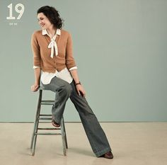 #fossil #kendi I love the wide leg pants paired with the blouse and cardi.