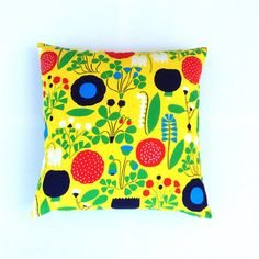 Yellow Marimekko Pillow Cover. Primary Colours by OnHighat5