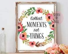 Collect moments not things, inspirational quote, printable art, typography,poster, home decor, motivational,printable,print,quote,wall decor by AdornMyWall on Etsy