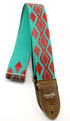 Turquoise & Red Navajo Native American by couchguitarstraps, $44.95