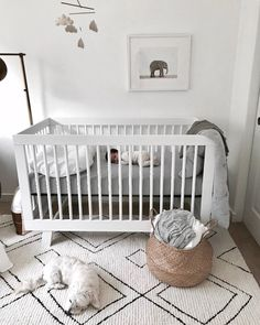 neutral boho nursery decor iwth white crib and boho rug, boy nursery decor, girl nursery decor Baby Bedroom, Baby Boy Rooms, Baby Room Decor, Baby Boy Nurseries, Nursery Room, Girl Nursery, Girl Room, Kids Bedroom, Boho Nursery