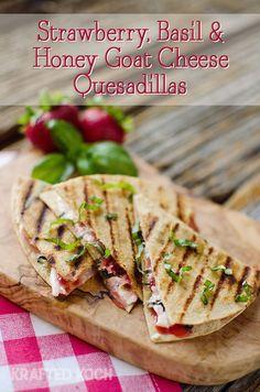 Strawberry Basil & Honey Goat-Cheese-Quesadillas - Krafted Koch