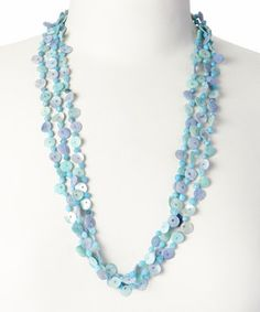 Look at this #zulilyfind! ZAD Blue Mother-of-Pearl Shell & Glass Bead Multiple Strand Necklace by ZAD #zulilyfinds