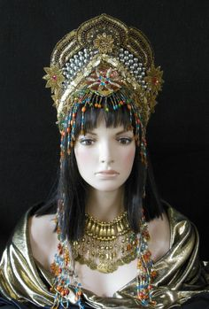 Fantasy Golden Goddess Queen Princess Moroccan Persian Buring Man Tribal Belly dance Bohemian Crown headdress headpiece beaded Festival hat MIMSYCROWNS