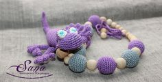 Nursing necklace Geko ?  for mom&baby ?Teething Necklace Wooden and crochet Necklace - Crochet Breastfeeding Necklace - Baby Shower Gift