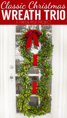 Learn how to make this Classic Christmas Wreath Trio with just a few supplies. Can be customized to fit any style or decor!