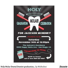 Holy Molar! Super fun and modern dental hygienist, dental student, or doctor graduation invitation on a black background. Features a big tooth, tooth brush, floss and halo. Hand drawn illustration by McBooboos.
