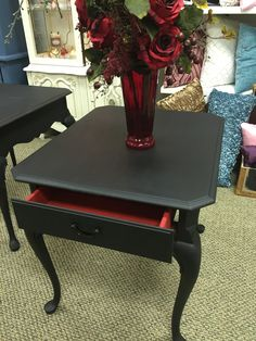 Black with Red Accent Table
