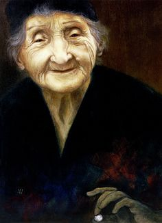 """""""Fortune Teller"""" by Yvonne Wright. Acrylic on masonite board. Grandma Theo, who was an exceptional woman. She painted watercolours, played piano and studied philosophy, but in her spare time, she was quite good at fortune telling to entertain her friends - hence my painting's title."""