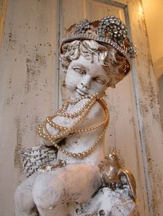 Large cherub statue w/ blue bird shabby by AnitaSperoDesign