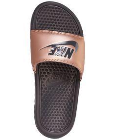 Nike Women's Benassi Jdi Swoosh Slide Sandals from Finish Line - Brown 5 Nike Sandals, Sandals Outfit, Sport Sandals, Women Sandals, Shoes Women, Ladies Shoes, Strap Sandals, Shorts Outfits Women, Gym Outfits