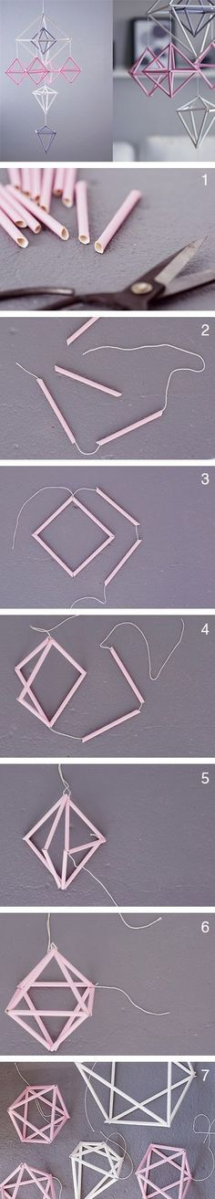 DIY Anleitung: Himmeli Mobile selber machen // home diy: how to craft a mobile via DaWanda.com