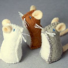adorable (if, in fact, mice of ANY kind can be called adorable) Felt Mice by muddyfeet. The kittens would LOVE these, especially with some catnip in the stuffing.Little Felt Mice set of 3 by MuddyFeet on EtsyItems similar to Little Felt Mouse - Tiny Felt Crafts, Fabric Crafts, Sewing Crafts, Mouse Crafts, Diy Crafts, Softies, Craft Projects, Sewing Projects, Craft Ideas