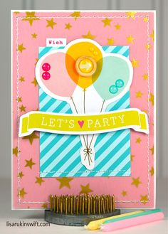 Card Share: Let's Party using @crate_paper star vellum, @americancrafts Dear Lizzy Fine & Dandy die cuts and @bellablvd Color Chaos patterned paper, all from the @paperissuesteam store.