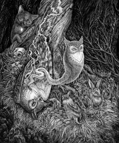 Not the end by Julia Vysotskaya, via Behance #illustration #nature #pen #ink #drawing #grey #gray #death #bunny #rabbit #owl #fox
