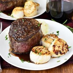 Surf and Turf for Two with sea scallops and filet mignon with rosemary-wine pan sauce is an elegant, decadent dish to make with a loved one