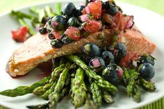 Salmon with blueberry salsa