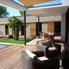 Outdoor Spaces, Outdoor Decor, House Elevation, Habitats, Outdoor Gardens, Terrace, Facade, Architecture Design, Pergola