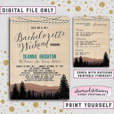 """Bachelorette Camping Weekend Invitation and Itinerary """"Mountains & Pine, Old West"""" (Printable File Only) Rustic Girl's Cabin Trees Lights"""