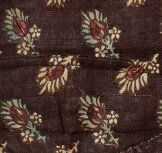 Date:  1780-1800 Materials:  Cotton; Linen Techniques:  Block printed, Mordant style, Woven (plain), Discharge style