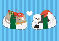 Sushi Cats Valentines Card by PonyChopsShop on Etsy, £2.30