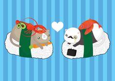 Sushi Cats Valentines Card by PonyChopsShop on Etsy, £2.30