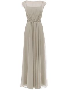 Illusion Neckline Dress; Color: Grey; Sizes Available: 2-26W, Custom Size; Fabric: Chiffon