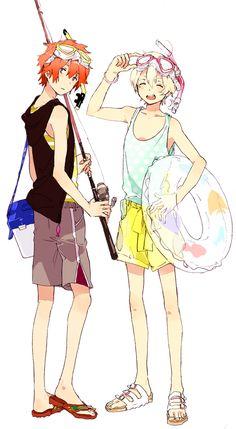 Tsuritama ~~ Ready for the beach! :: Haru and Yuki