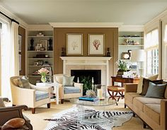 ditto :: a living room with all the angles. Learn how to bring these elements into your home. Love the layout of this room. Coastal Living Rooms, Home Living Room, Living Spaces, Coastal Cottage, Family Room Decorating, Family Room Design, Decorating Ideas, Family Rooms, Decor Ideas