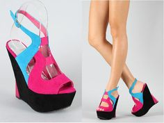 Quzzi-2 Colorblock Cut Out Slingback Wedge