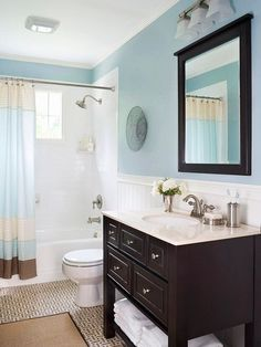 Bathroom - Ideas for our small bathroom love the colors too by helene by helene