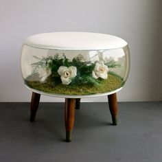Vintage Inflatable Terrarium Foot Stool Ottoman with White Faux Flowers, circa 1970 Kitsch Decor Plastic