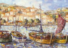 """Chalutiers à Loane (Ref/GIR023) by Philippe Giraudo - Reproduction 70 x 50 cm (19.75"""" x 27.60"""") - $ 24.99 Saint Tropez, Cannes, Meet The Artist, Reproduction, French Riviera, French Artists, Impressionist, Provence, Vivid Colors"""