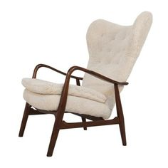 #410 Lounge Chair in Sheepskin by Acton Schubell and Ib Madsen