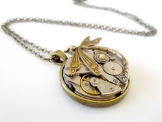 Vintage Steampunk Inspired Pendant with Dragonfly and Swarovski