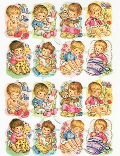 Vintage Die Cut Children with Toys Kruger (Image1)