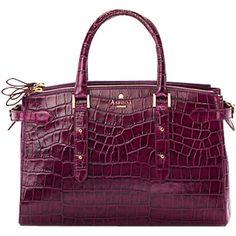 Aspinal of London Brook Street Shoulder Handbag, Purple Croc ❤ liked on Polyvore
