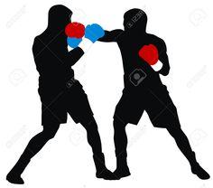 Siluetas de dos boxeadores con guantes rojos y azules.