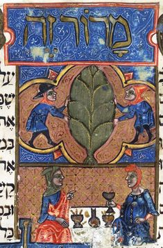 Haggadot sometimes display a sense of humour. In the Brother Haggadah, the lifting of the bitter herb (maror), which is intended to symbolize the bitter fate of the Israelites in Egypt, is shown in two illustrations.  First, and most simply, the herb is depicted as a giant leaf flanked by two men. Beneath, a couple is seated at a spread Seder table with the husband pointing to his wife, saying, 'This bitter herb.' This gesture was certainly neither mandatory nor common. - Or 1404 f. 18