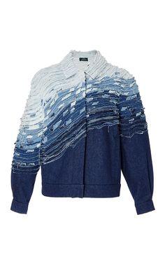 Frayed Wave Denim Jacket by ALENA AKHMADULLINA for Preorder on Moda Operandi Custom Clothes, Diy Clothes, Patterned Jeans, Denim Ideas, Old Jeans, Denim Fabric, Apparel Design, Denim Fashion, Paris Fashion