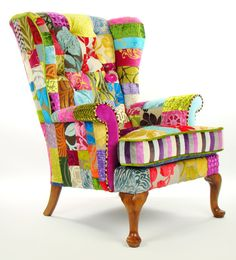 Bespoke patchwork wing back armchair in designer by JustinaDesign, £625.00