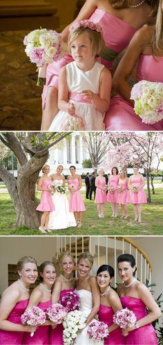 Bridesmaids are Pretty in Pink Cute Wedding Dress, Fall Wedding Dresses, Colored Wedding Dresses, Wedding Bride, Wedding Colors, Wedding Styles, Wedding Bells, Wedding Day, Gold Wedding