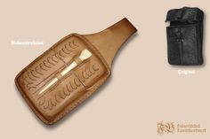 Wachstafelfutteral nach einem niederländischen Fund aus Dordrecht, Leder aus eigener Walnuss-Färbung, Stylus aus Bein