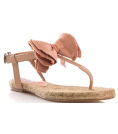 Bow Espadrille Sandals by lanvin. Nude pink. Grosgrain straps. Thong and ankle strap with small buckle. Grosgrain bow front. Flat sandals. Espadrille soles. Platform - 0.5in/1.2cm. #Matchesfashion