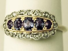 Antique 0.56 ct Sapphire and 0.26 ct Diamond, 18 ct Yellow Gold Dress Ring  (Unknown)